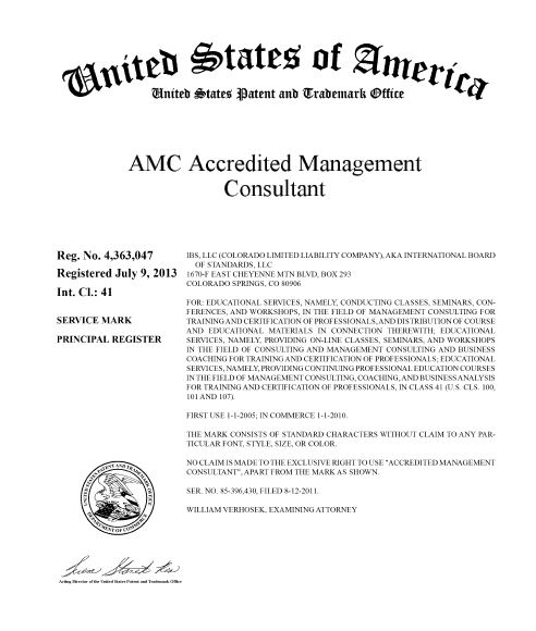 Certified Accredited Management Consultant Trademark